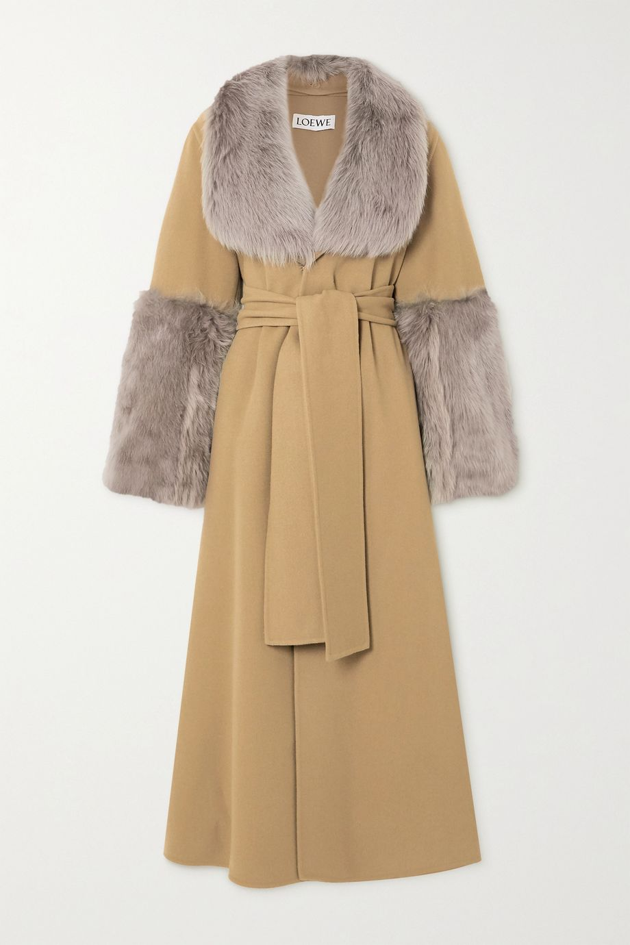 Loewe Belted shearling-trimmed wool and cashmere-blend coat