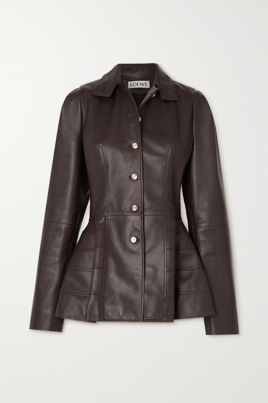 Loewe Paneled leather peplum jacket