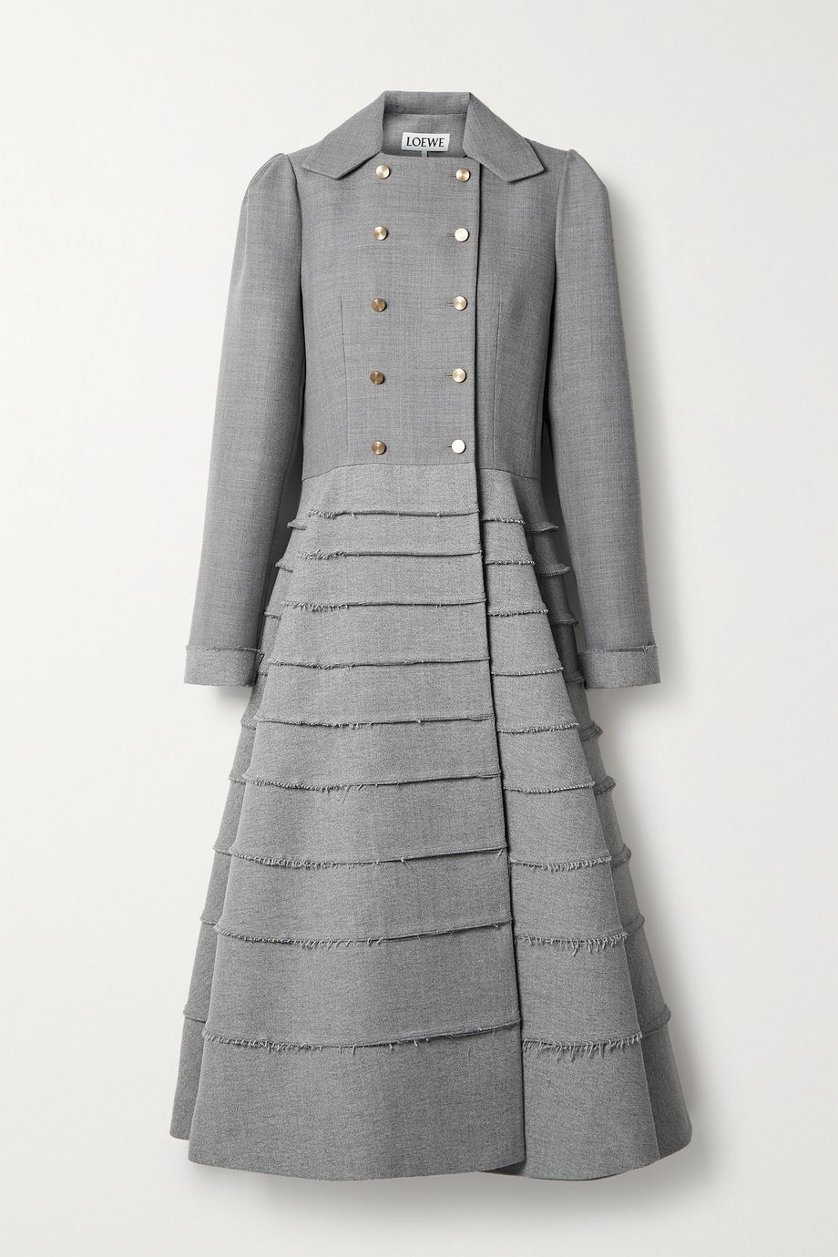 Loewe Double-breasted frayed wool coat