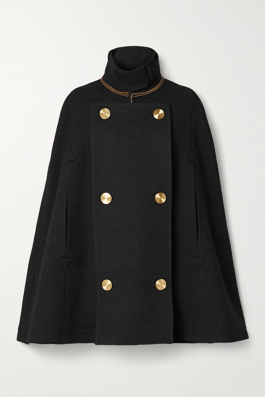 Loewe Chain-embellished double-breasted wool cape