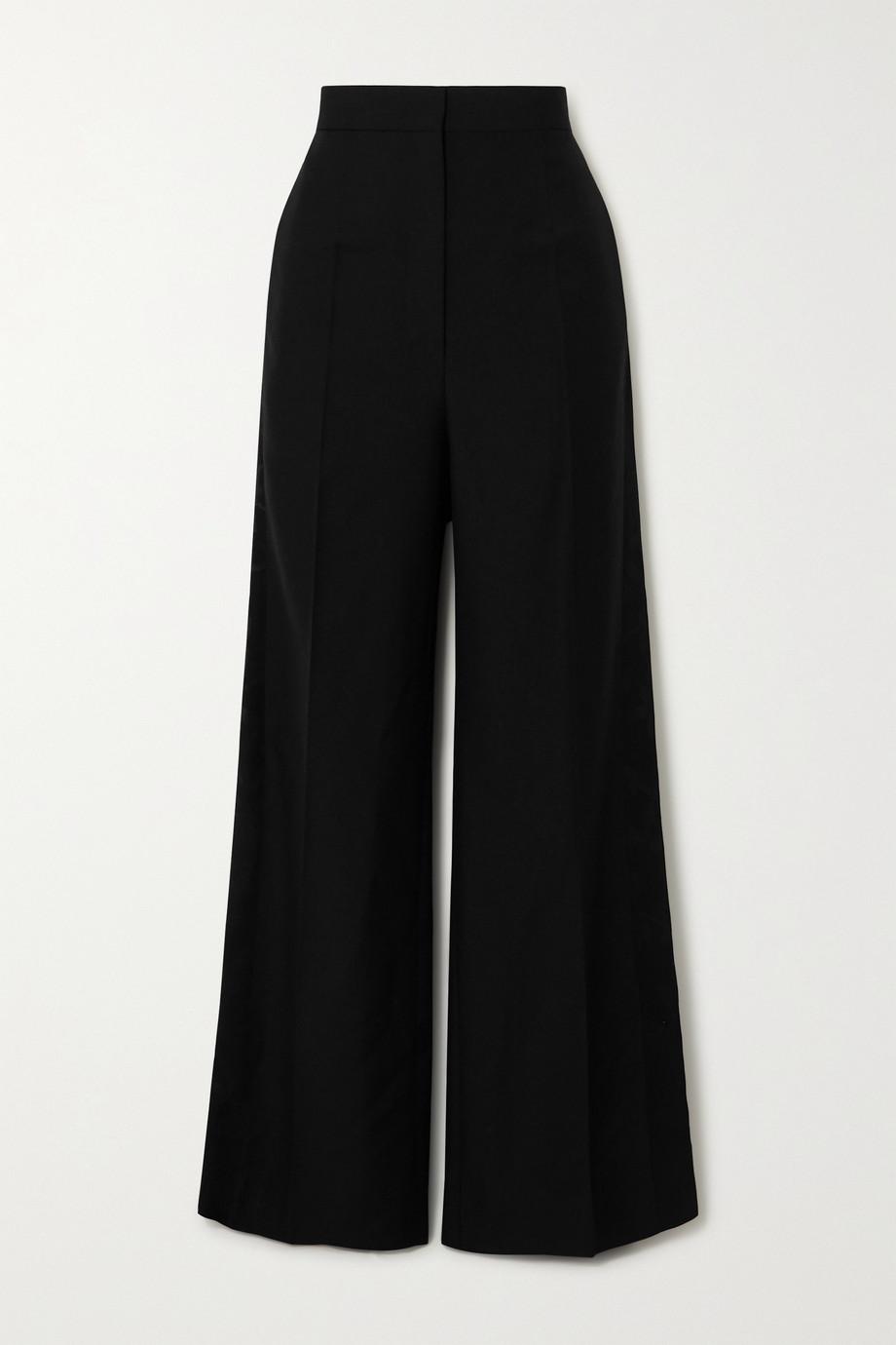 Loewe Satin jacquard-trimmed wool wide-leg pants