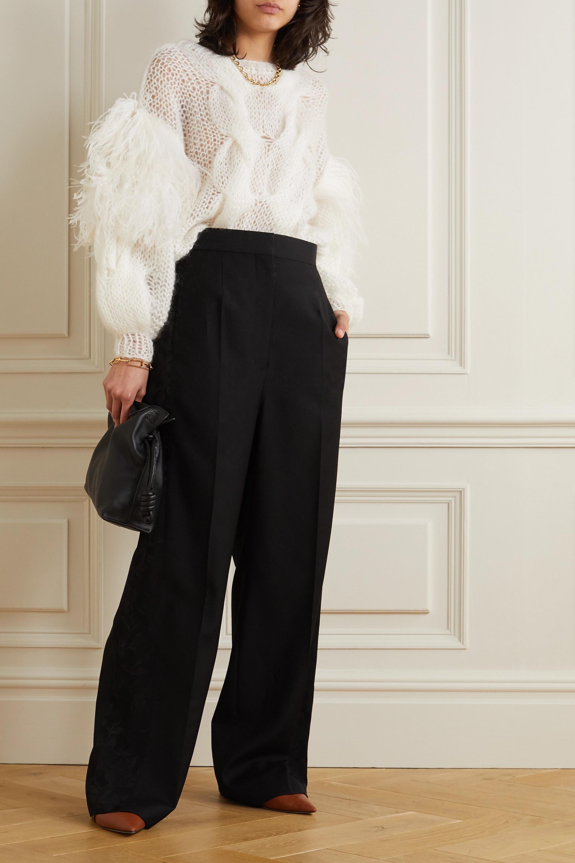Loewe Hose mit weitem Bein aus Wolle mit Einsätzen aus glänzendem Jacquard