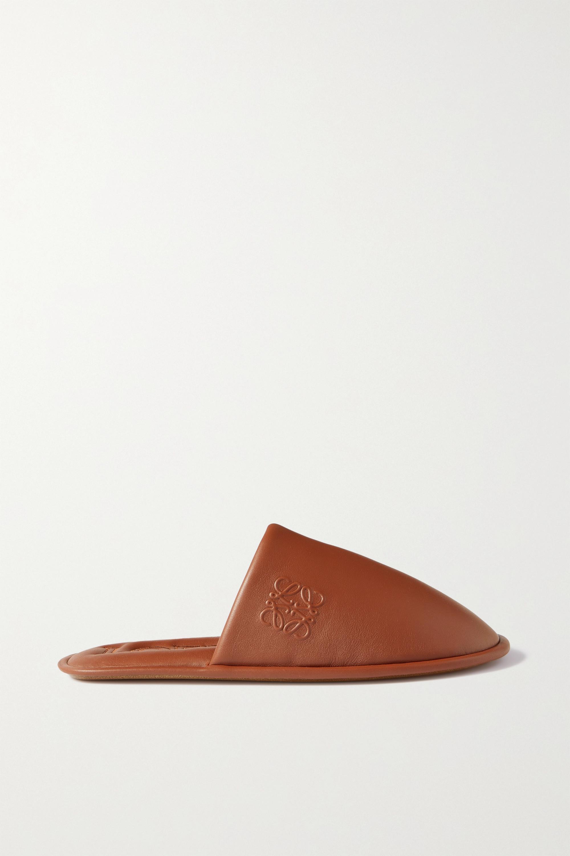 Loewe Slippers aus Leder mit Logoprägung
