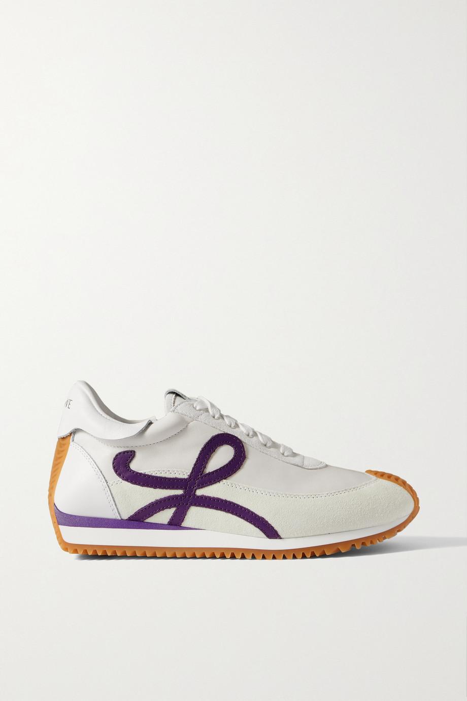 Loewe Flow Sneakers aus Leder und Veloursleder mit Logoapplikationen