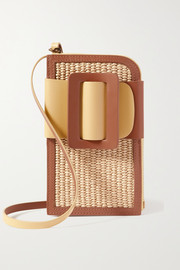 BOYY Buckle Cross leather-trimmed two-tone raffia phone case