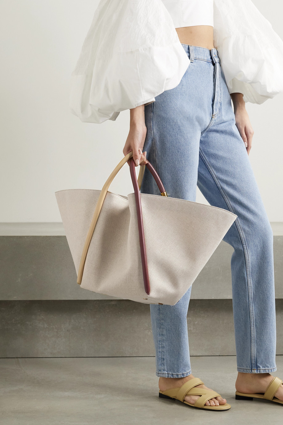 BOYY Lotus 25 leather-trimmed canvas tote