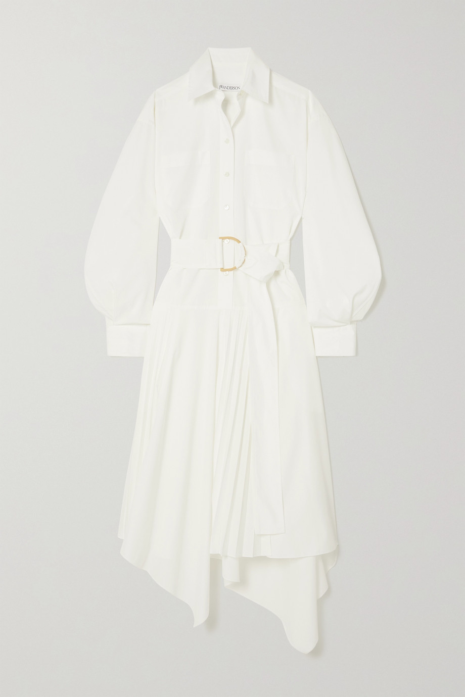 JW Anderson Asymmetric belted poplin shirt dress
