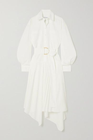 Jw Anderson Clothing ASYMMETRIC BELTED POPLIN SHIRT DRESS