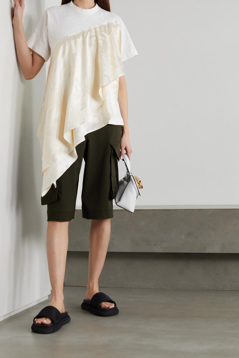JW Anderson Asymmetrisches T-Shirt aus Baumwoll-Jersey und glänzendem Jacquard mit Raffungen