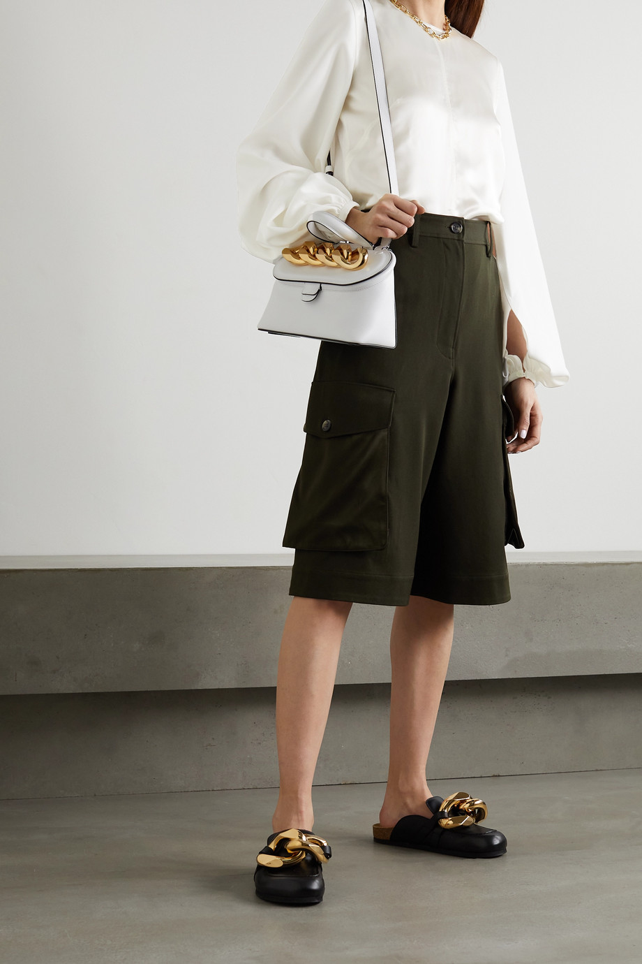 JW Anderson Paneled satin, crepe and cotton blouse