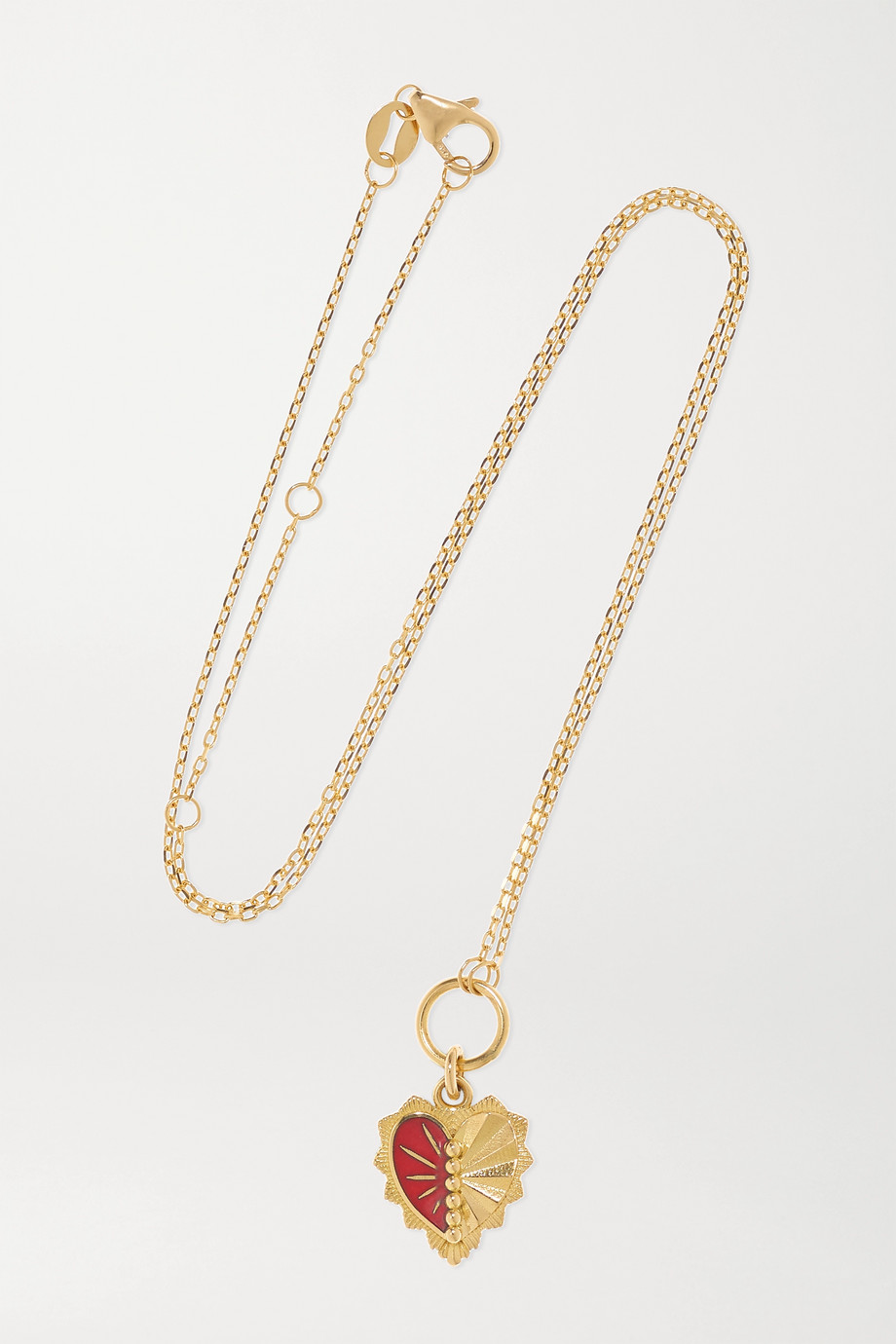 Foundrae Mini Heart Love Token 18-karat gold and enamel necklace