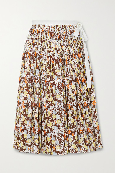 Tory Burch Cottons PLEATED FLORAL-PRINT COTTON WRAP MIDI SKIRT
