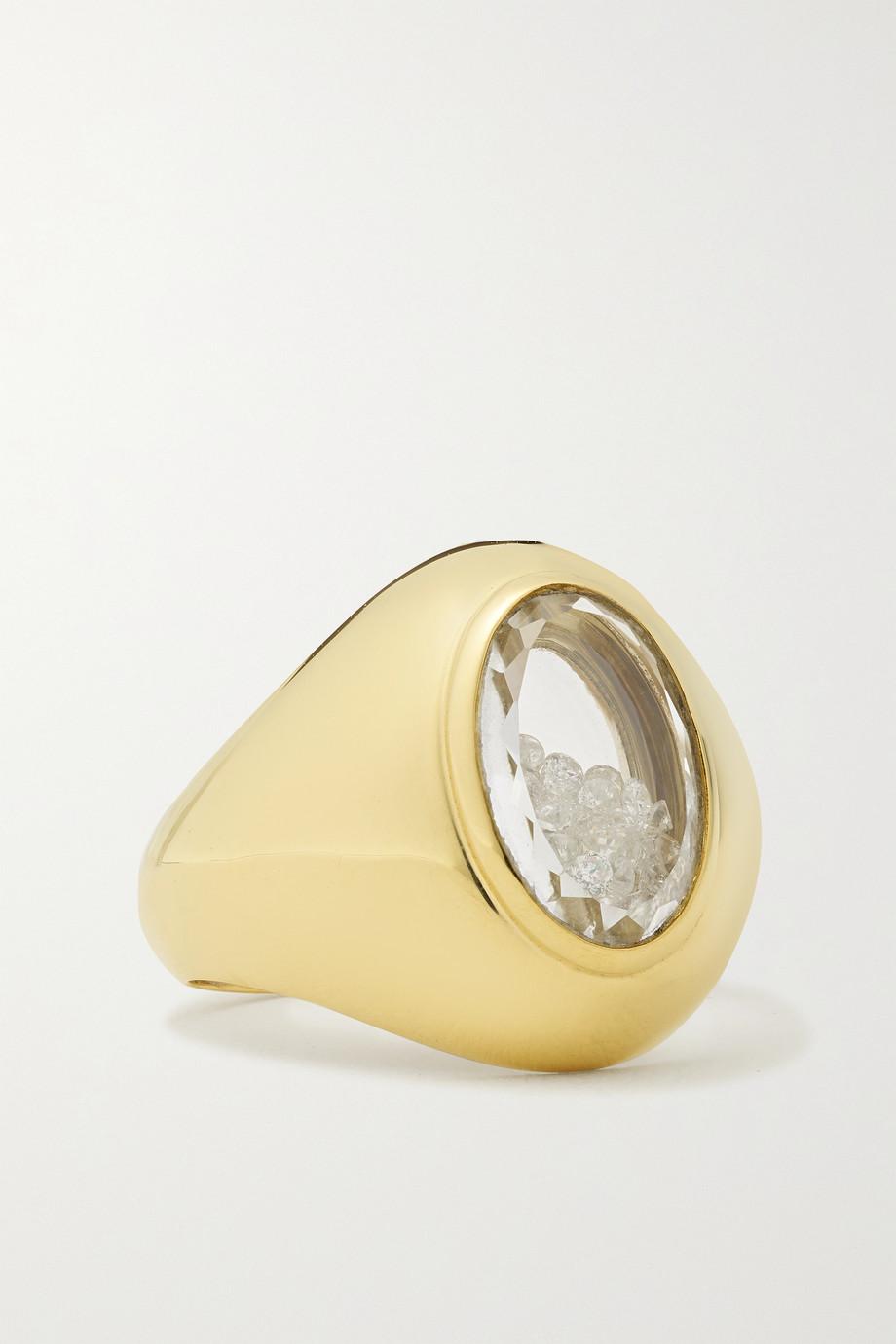 Moritz Glik Dedinho 18-karat gold, sapphire crystal and diamond signet ring