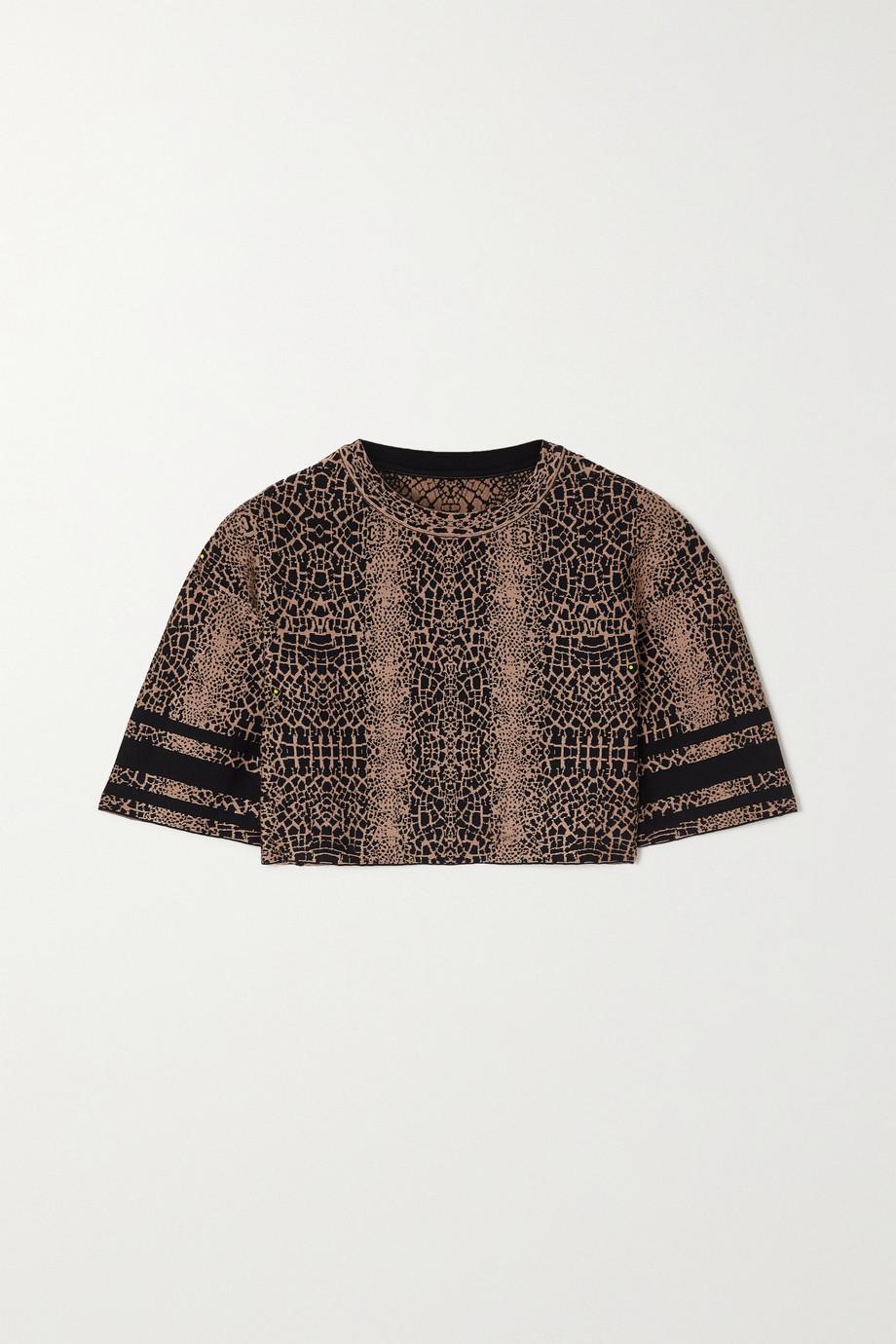 Alaïa Verkürztes T-Shirt aus Jacquard-Strick mit Leopardenmuster
