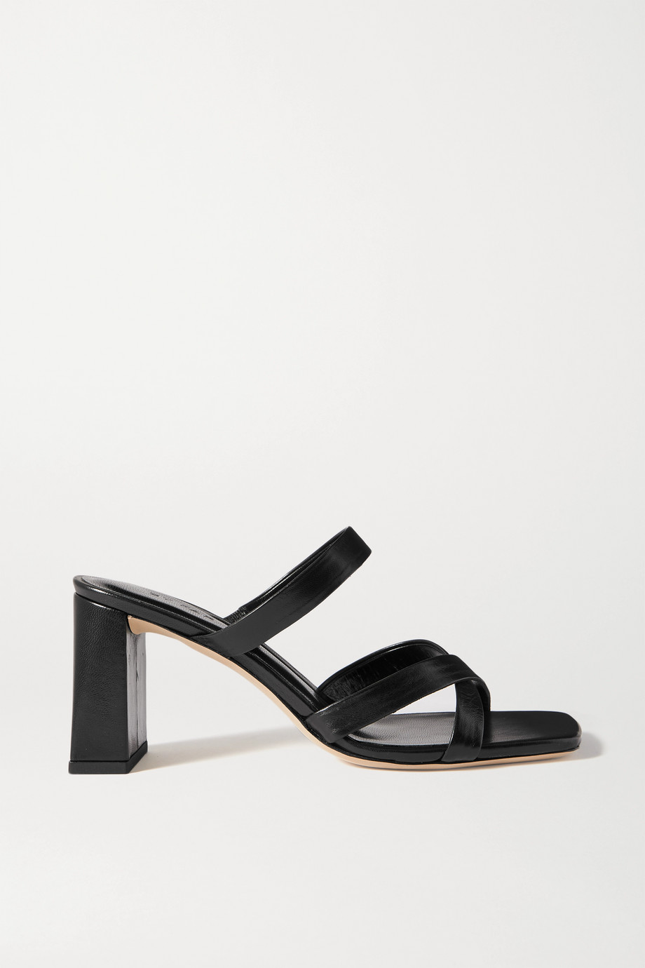 BY FAR Lenny crinkled glossed-leather mules