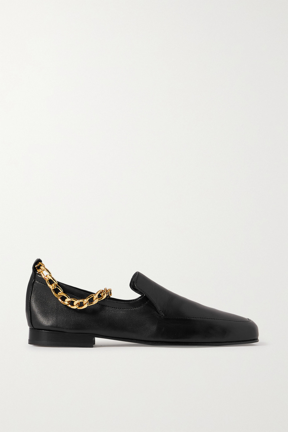 BY FAR  Nick chain-embellished glossed-leather loafers