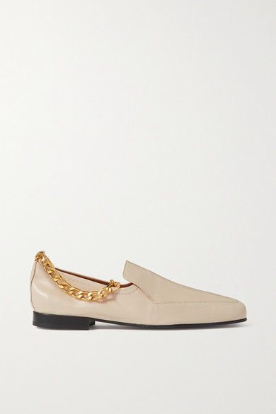 By Far Leathers NICK CHAIN-EMBELLISHED CRINKLED GLOSSED-LEATHER LOAFERS