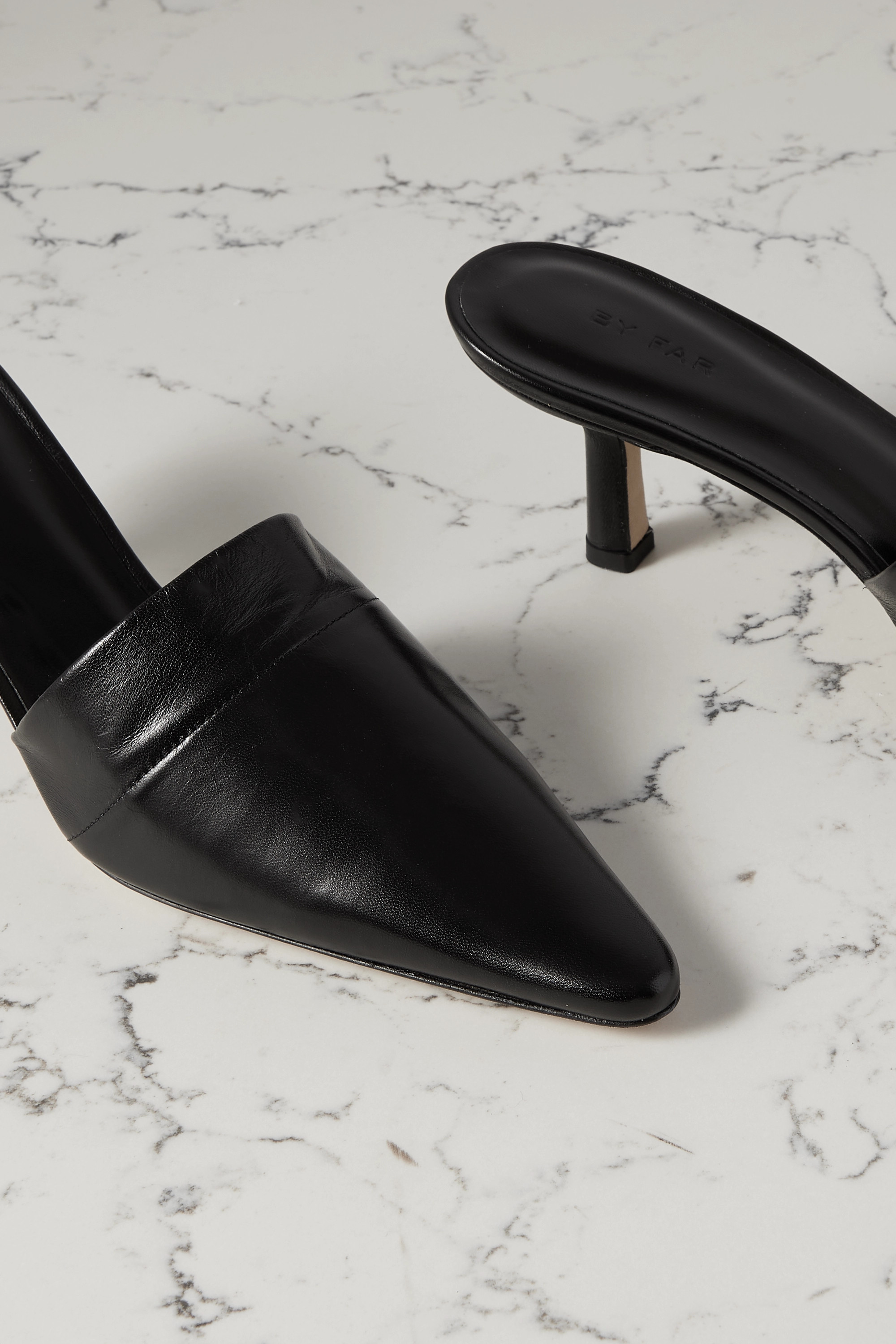 BY FAR Cynthia glossed-leather mules