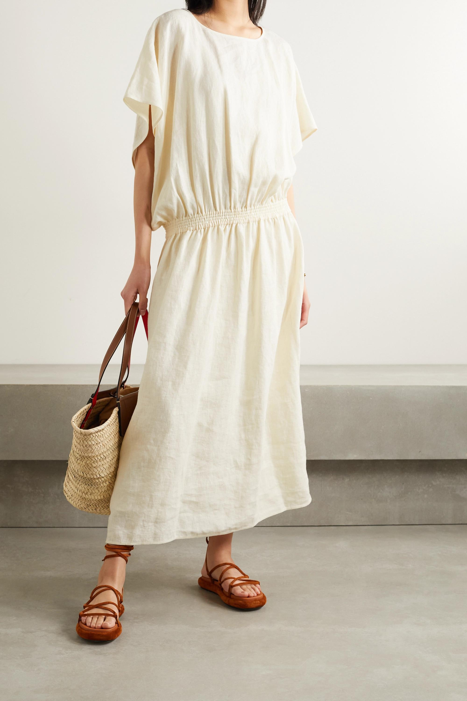 Tory Burch Shirred linen maxi dress