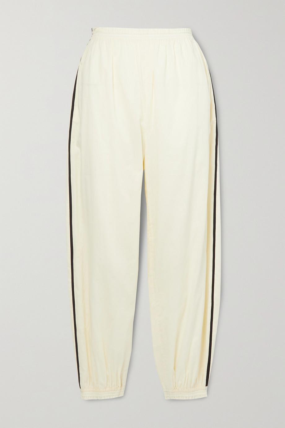 Tory Burch Pantalon de survêtement en voile de coton à passepoils