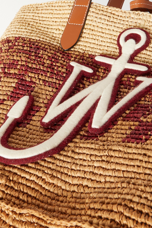 JW Anderson Sac à main en raphia tressé à finitions en cuir et à appliqué