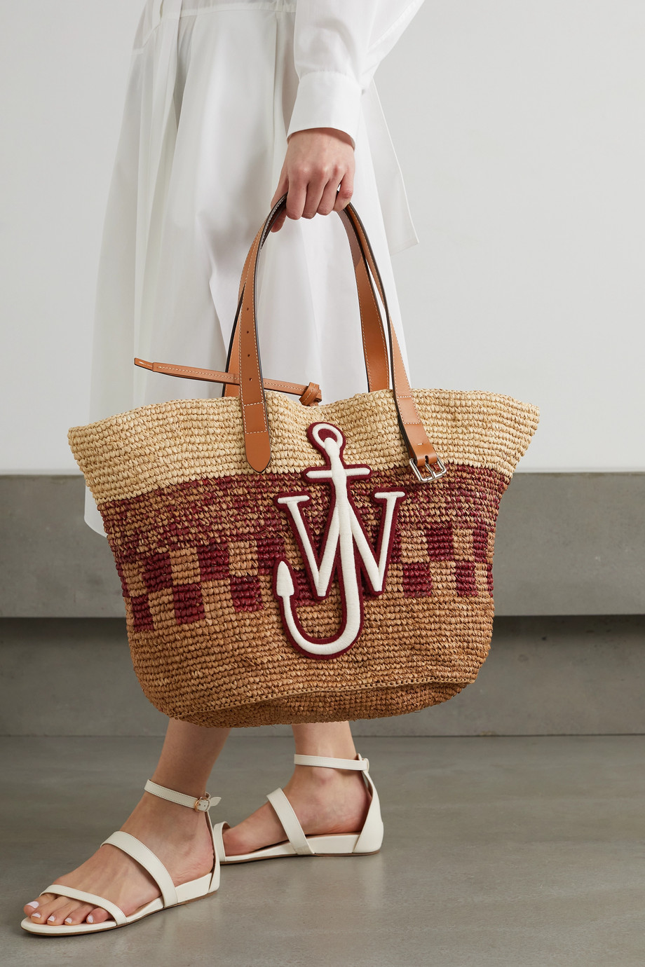 JW Anderson Appliquéd leather-trimmed woven raffia tote