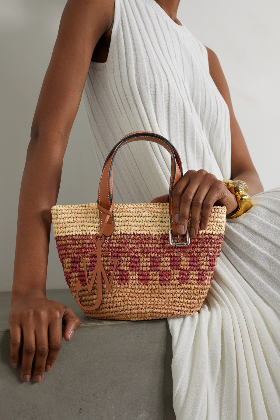 JW Anderson Mini leather-trimmed woven raffia tote