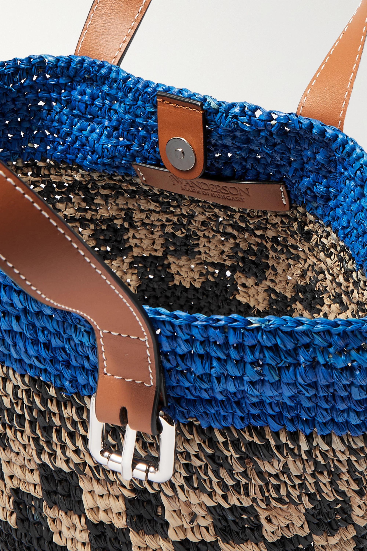 JW Anderson Mini leather-trimmed raffia tote