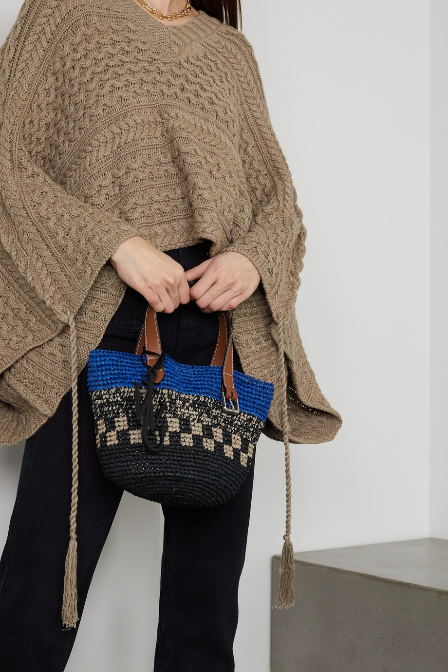 JW Anderson Mini leather-trimmed raffia tote