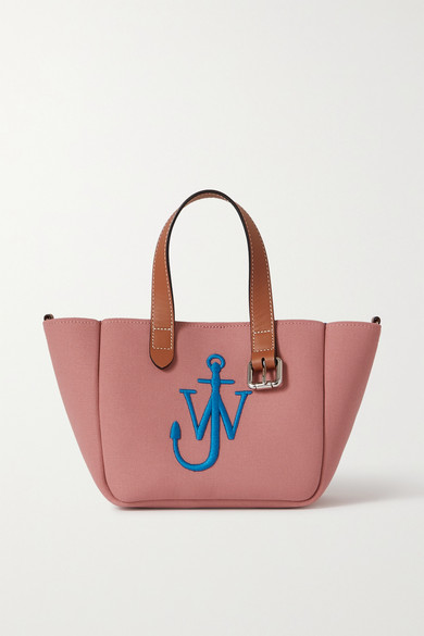 Jw Anderson Totes BELT MINI LEATHER-TRIMMED EMBROIDERED CANVAS TOTE