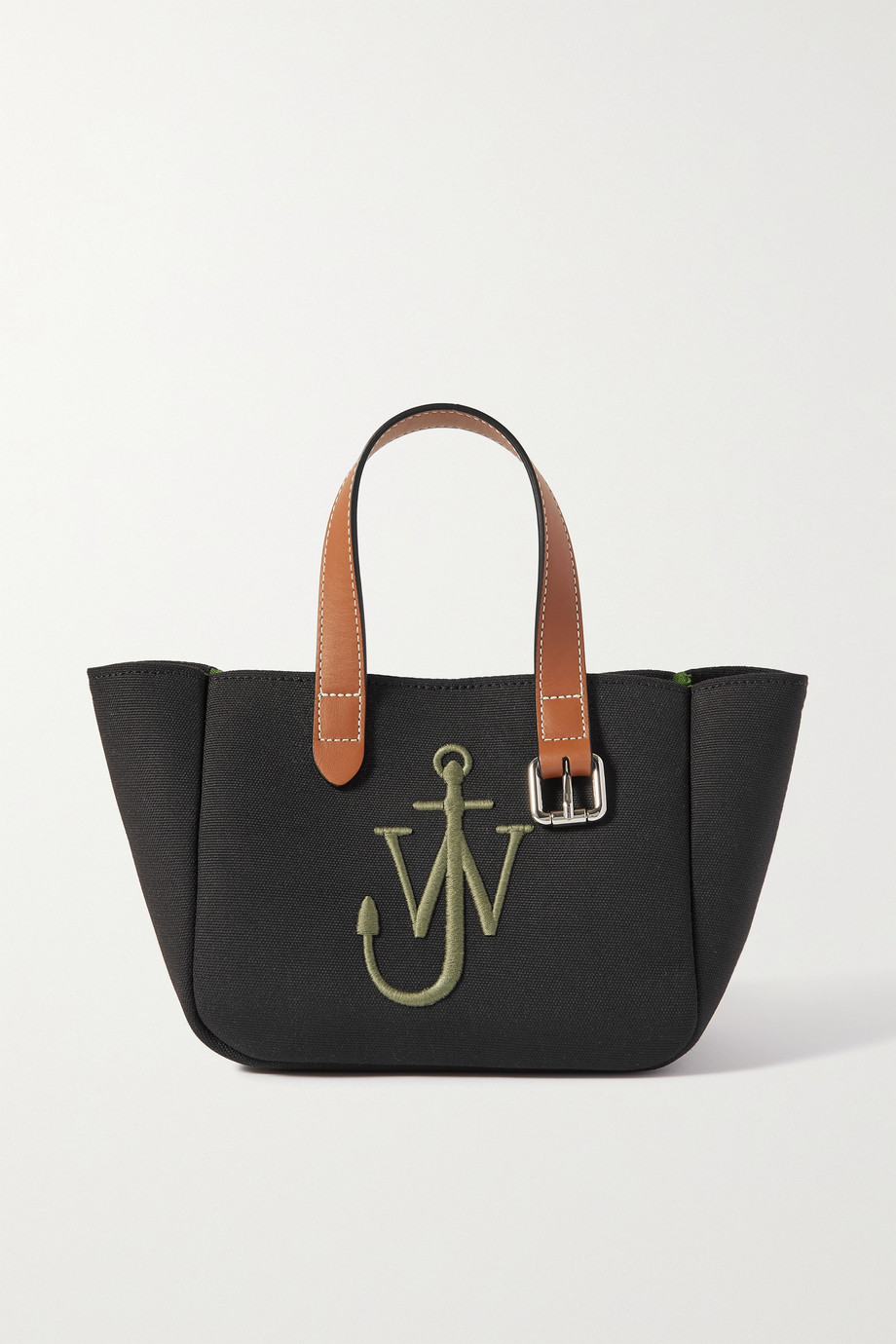 JW Anderson Belt mini leather-trimmed embroidered canvas tote