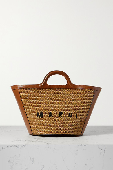 Marni Tropicalia Small Leather-trimmed Embroidered Straw Tote In Brown