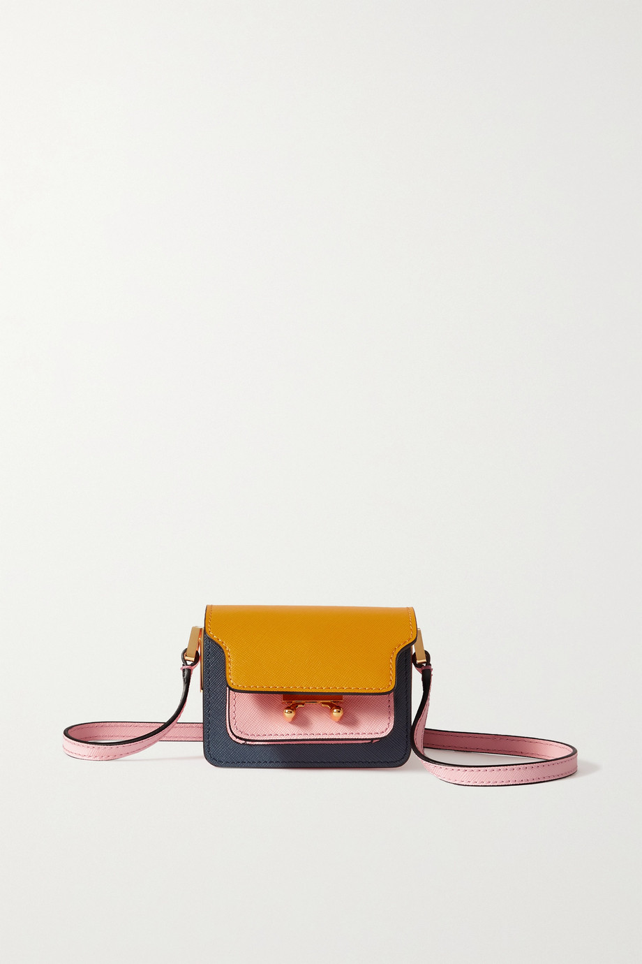 Marni Trunk nano Schultertasche aus strukturiertem Leder in Colour-Block-Optik