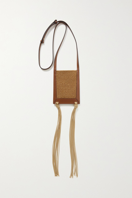 Marni Schultertasche aus Stroh mit Lederbesätzen, Stickereien und Troddeln