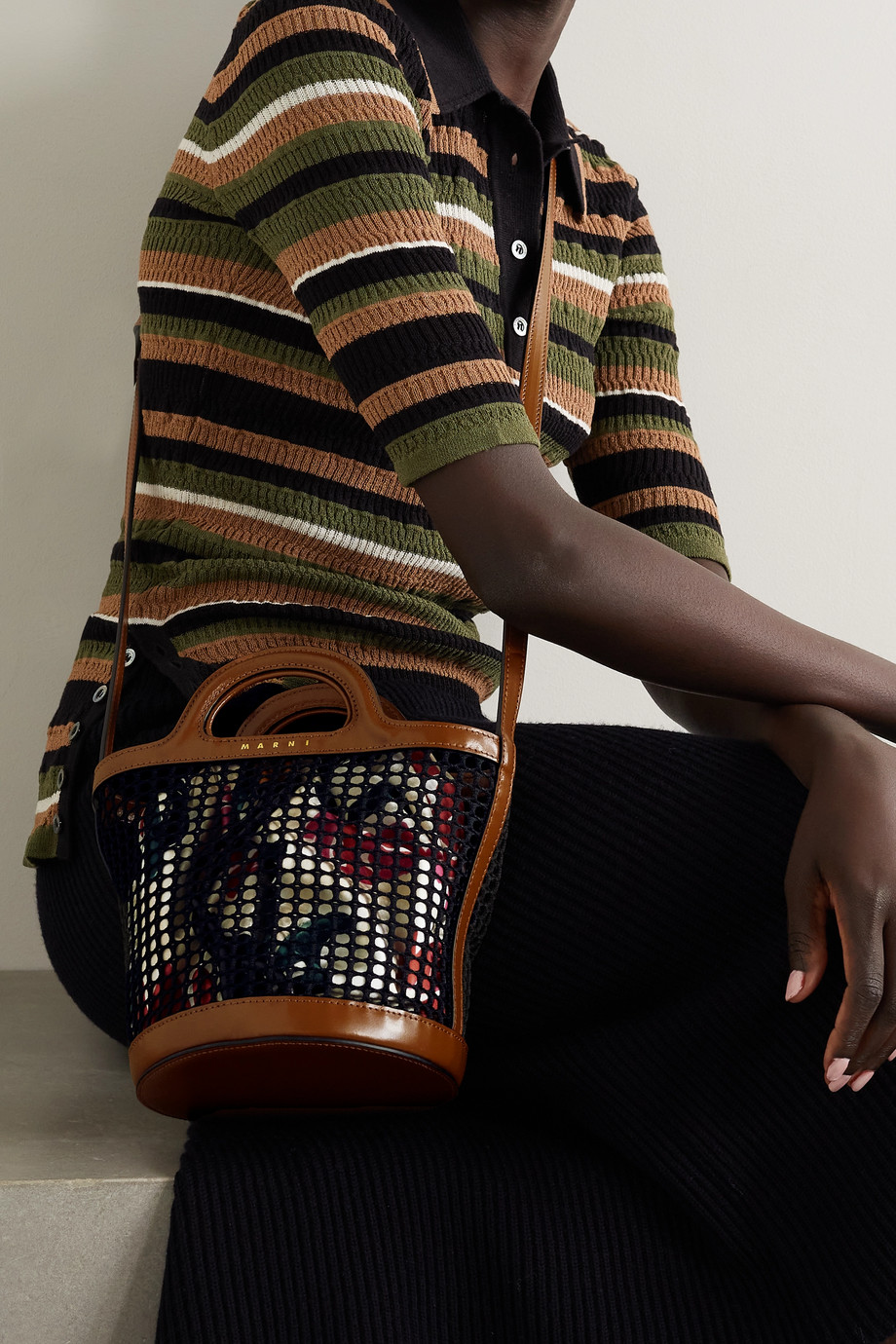 Marni Macramé and floral-print satin-twill bucket bag