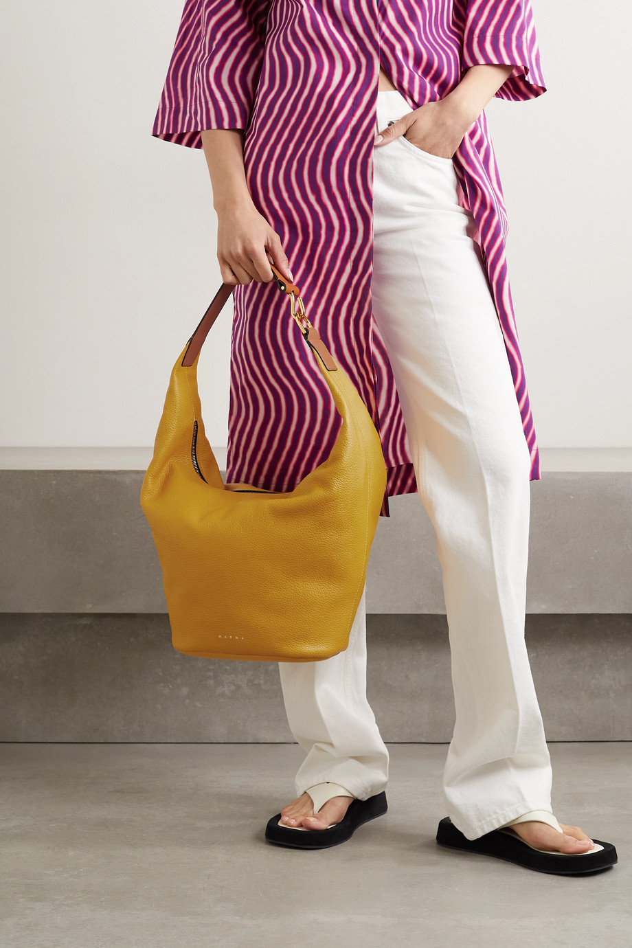 Marni Pierce small two-tone textured-leather tote