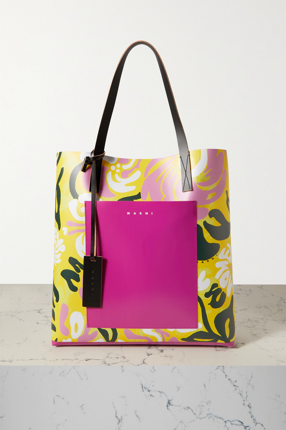 Marni Leather-trimmed printed coated-PVC tote