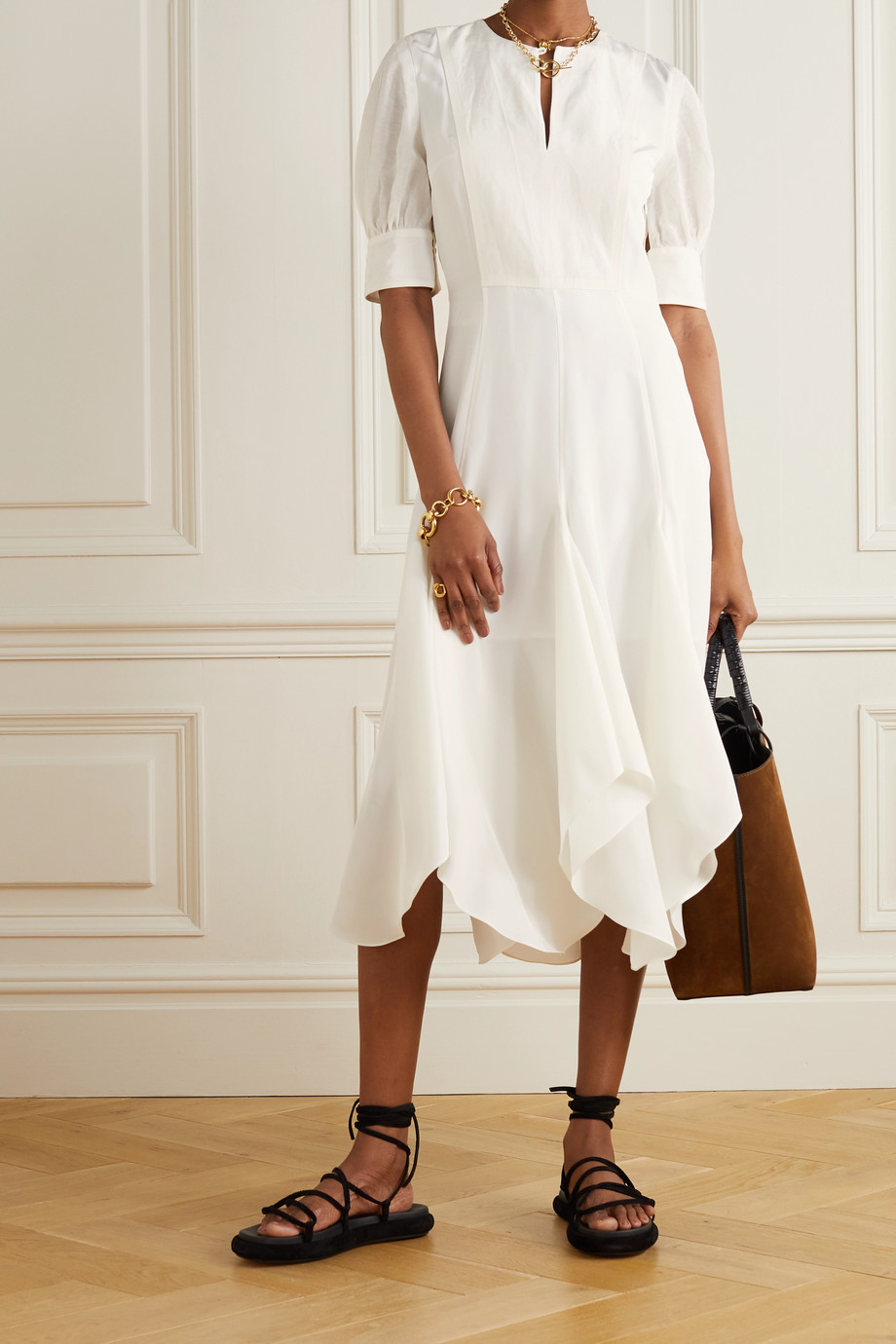 Loewe Asymmetric silk and voile midi dress