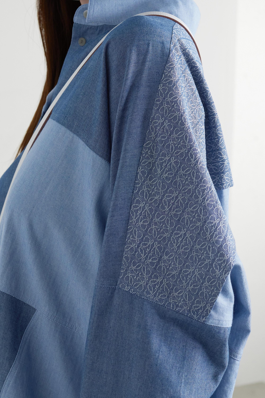 Loewe Robe-chemise patchwork asymétrique en chambray de coton