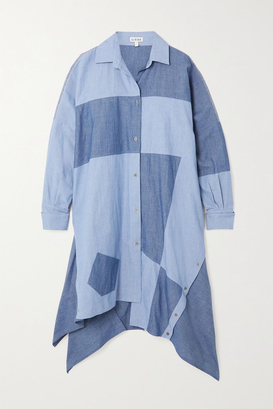 Loewe Asymmetrisches Hemdblusenkleid aus Baumwoll-Chambray in Patchwork-Optik