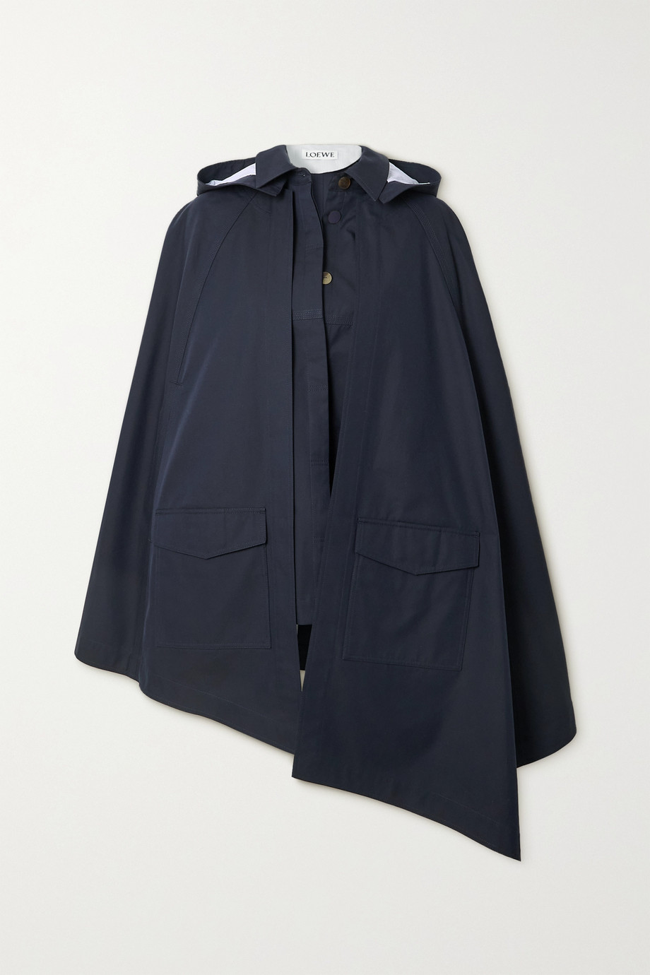 Loewe Convertible hooded leather-trimmed cotton-twill cape