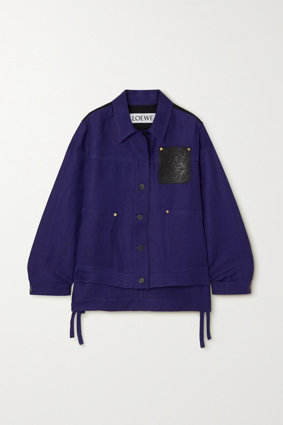 Loewe Leather-trimmed linen-blend drill jacket
