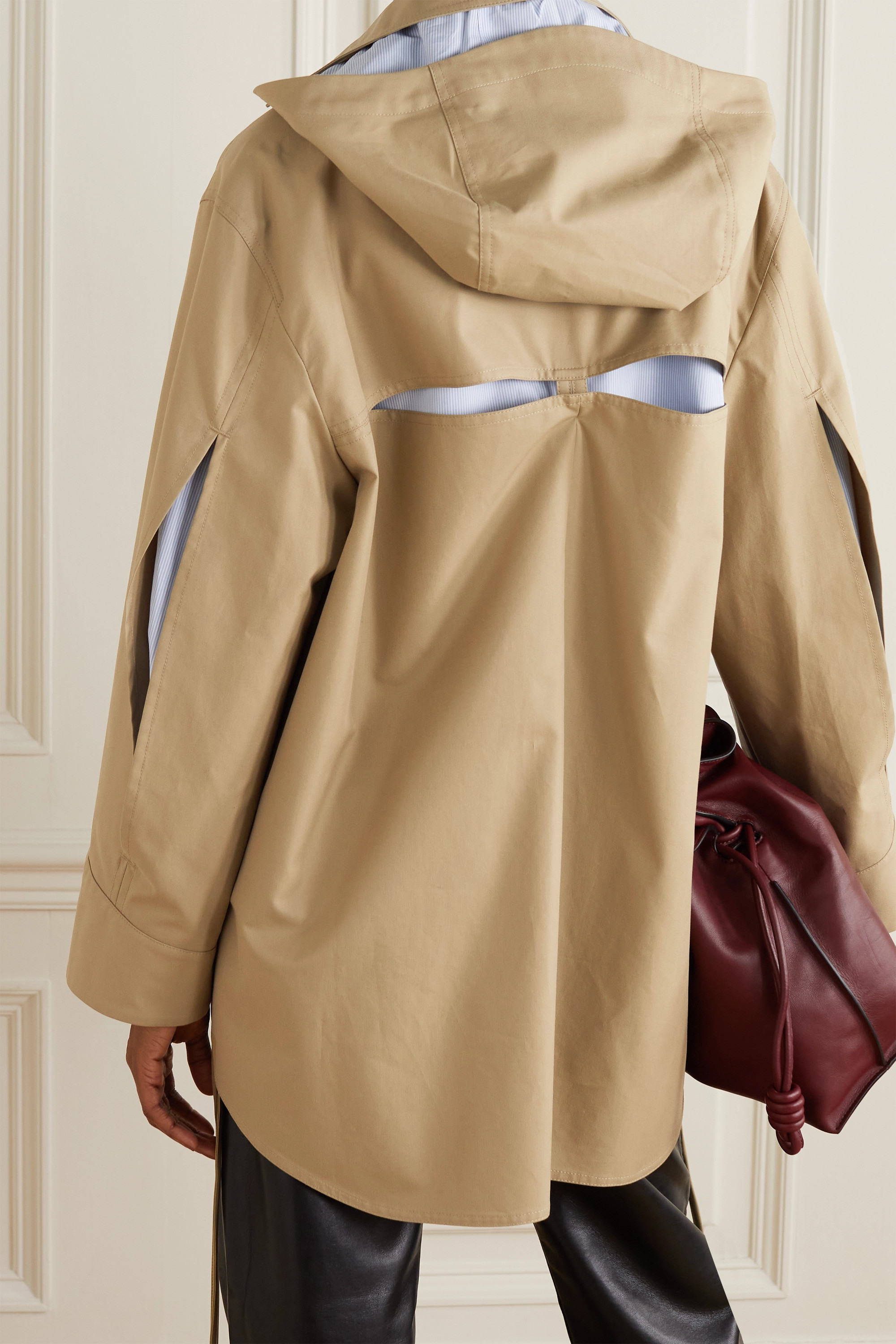 Loewe Hooded leather-trimmed cutout cotton-twill jacket