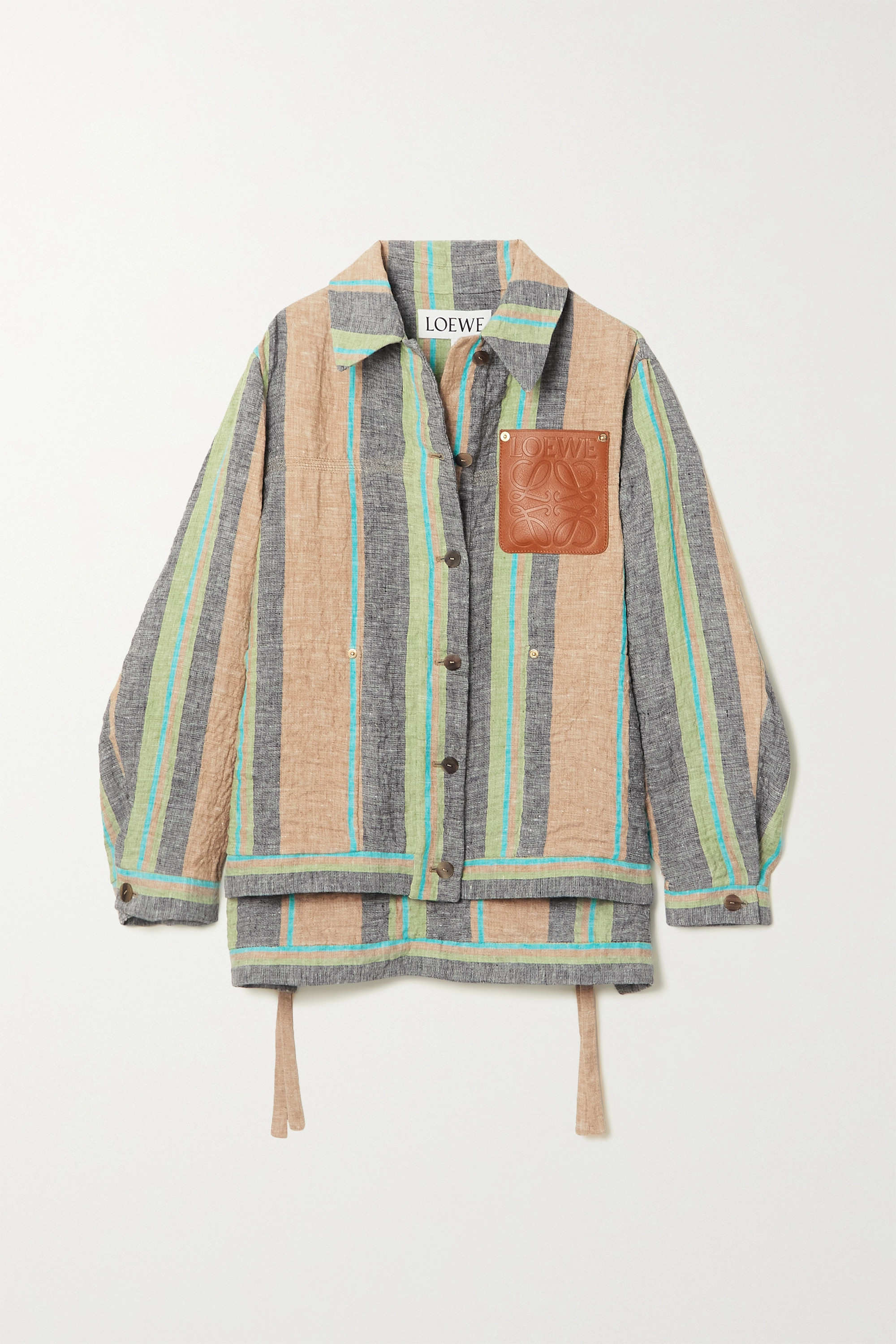 Loewe Leather-trimmed striped linen and cotton-blend jacket