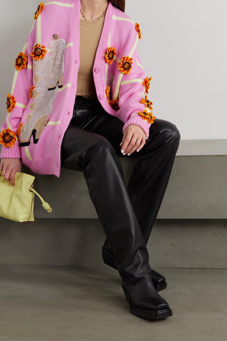 Loewe Appliquéd embroidered jacquard-knit wool cardigan