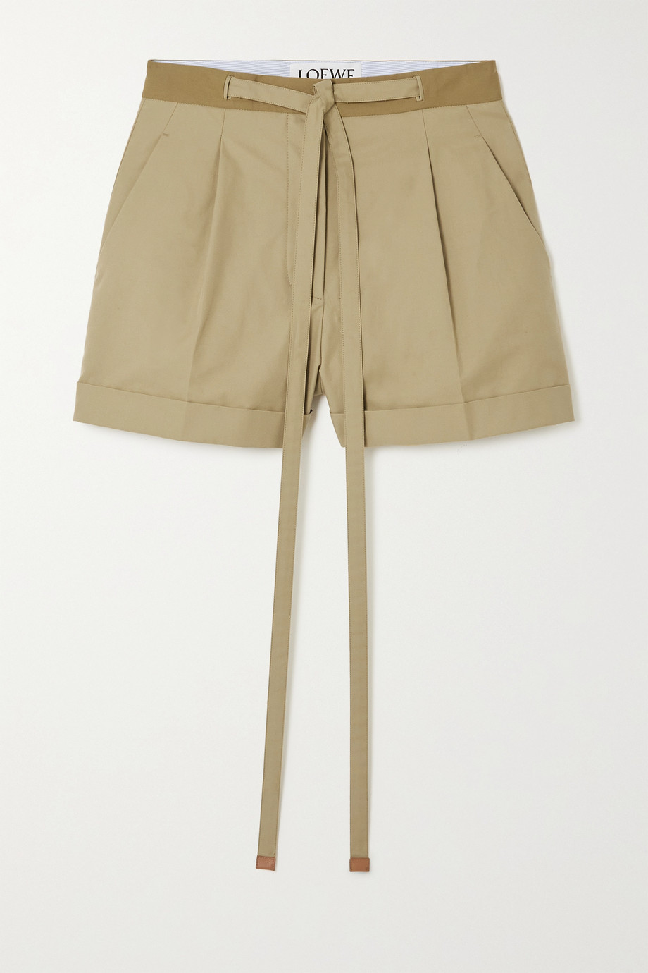 Loewe Leather-trimmed cotton-twill shorts