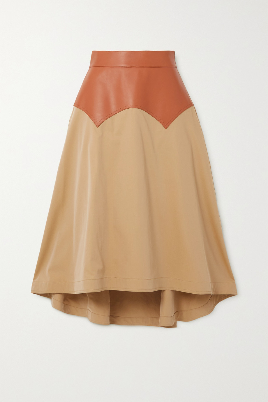 Loewe Obi asymmetric leather and cotton-twill midi skirt