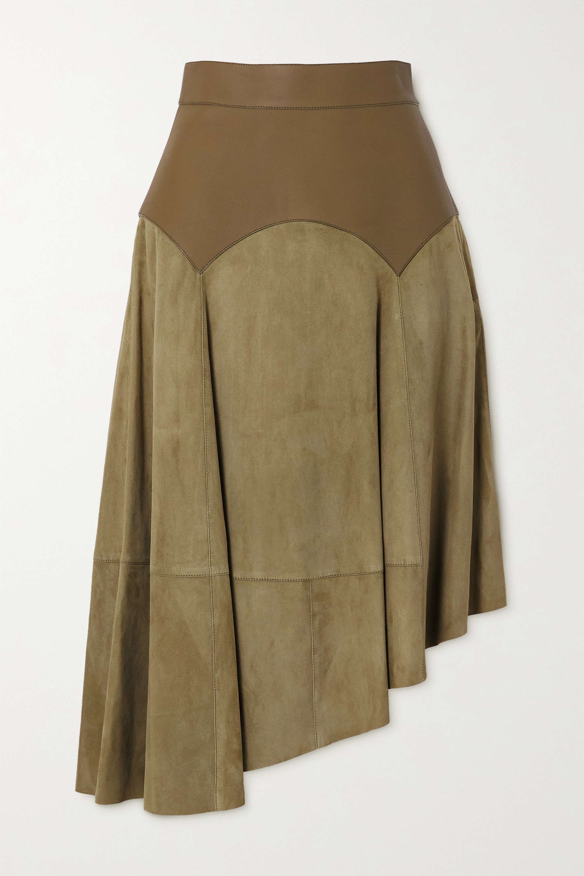 Loewe Obi asymmetric leather and suede skirt