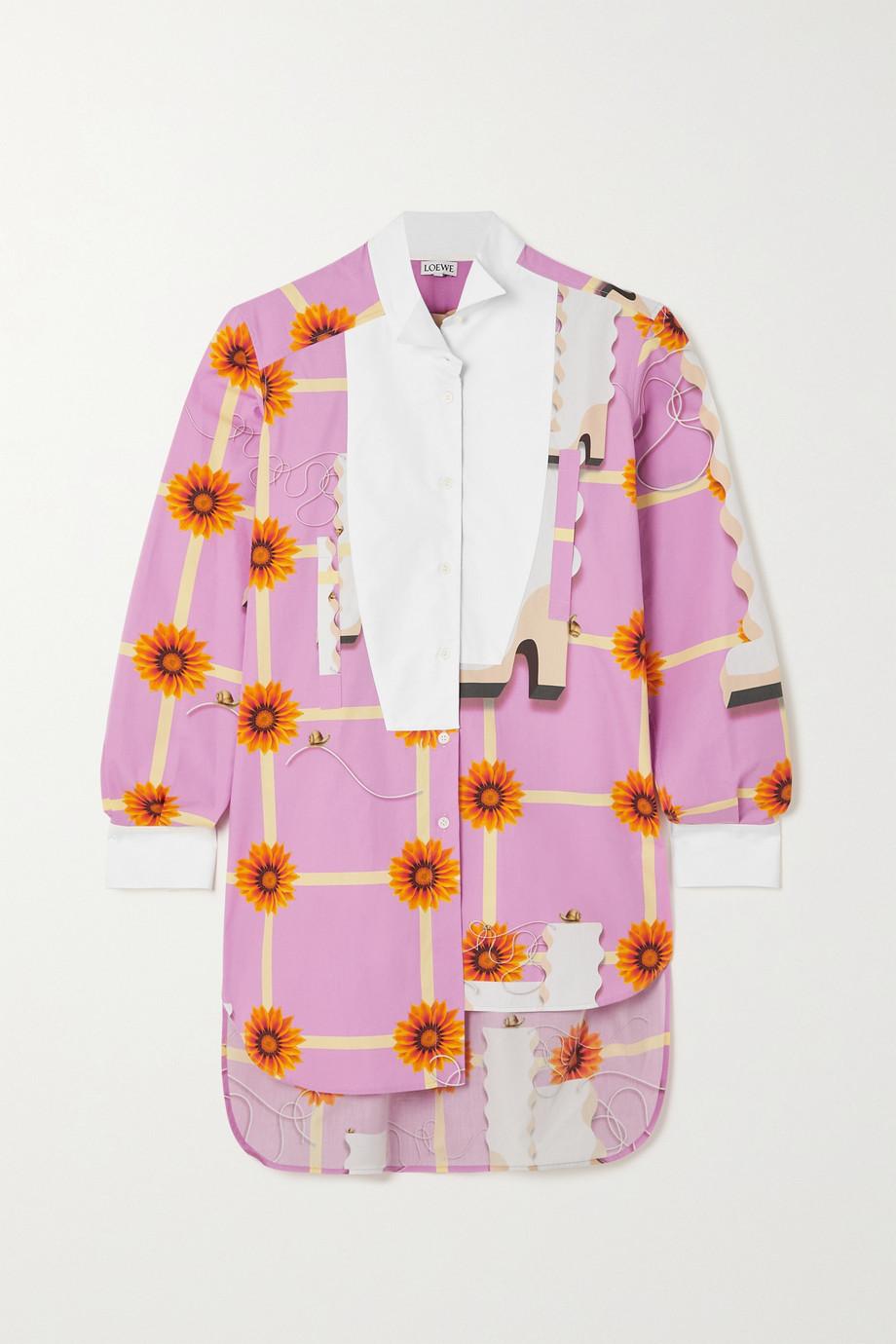 Loewe Asymmetrisches Hemd aus Baumwollpopeline mit Blumenprint