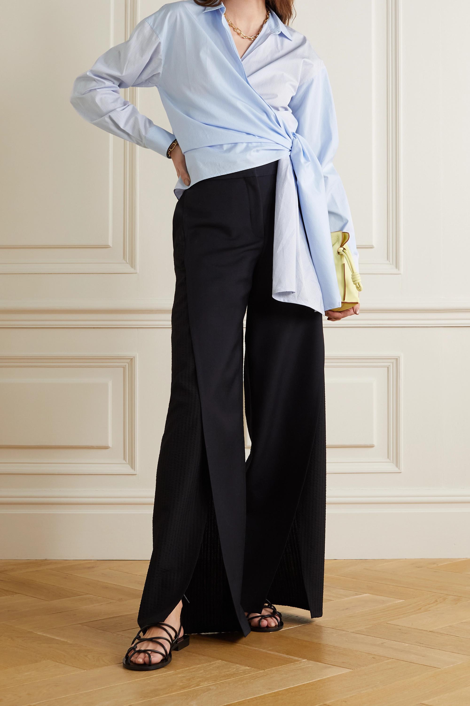 Loewe Paneled striped cotton-poplin wrap blouse